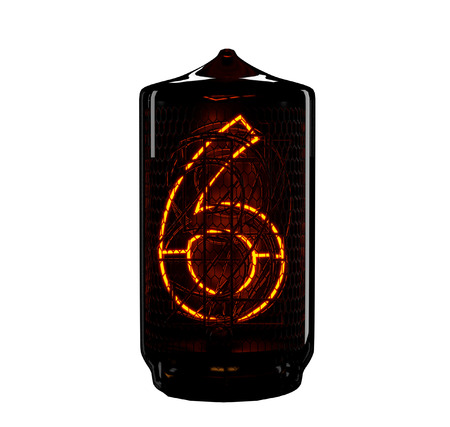 Nixie tube indicator. The number six of retro. 3d render. Stock Photo