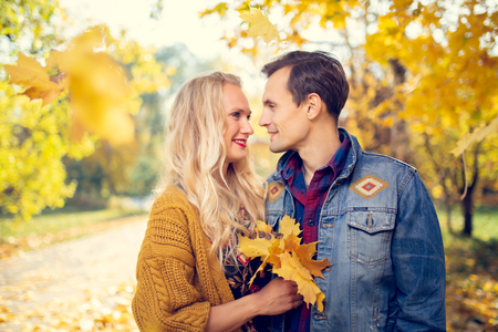Photo of couple in love at autumn forest Imagens