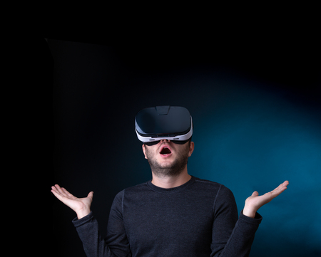 Image of surprised man in virtual reality glasses Stock Photo