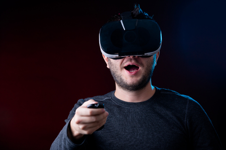 Image of man in virtual reality glasses