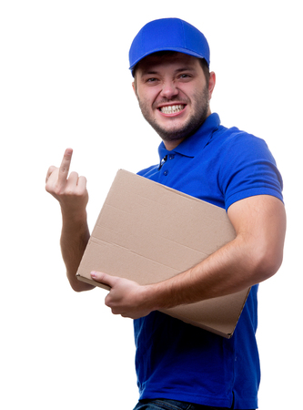 Image of young man in blue T-shirt and baseball cap with cardboard box Stock fotó
