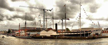 ketch: The Ketch Irene alongside the S S  Great Britain at Bristol Docks  Stock Photo