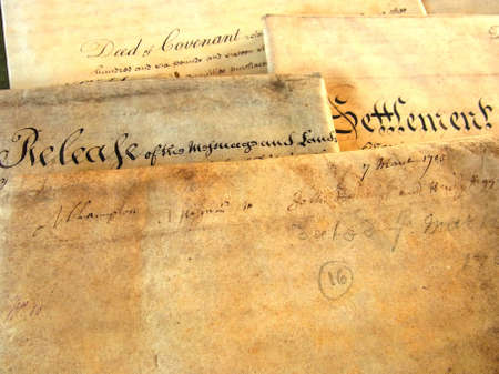 deeds: Old 18th century Parchment Deeds  Editorial