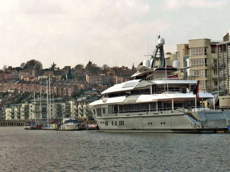 super yacht: A Super Yacht berthed at Bristol docks with Clifton Wood and Hotwells in the background   Editorial