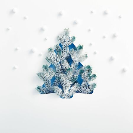 Christmas minimal concept - Xmas tree shape made of snowy fir branch with abstract snowfall pattern. Square composition, flat lay, view from above. Winter spruce concept Reklamní fotografie