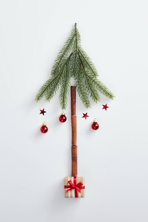 Christmas minimal concept - creative christmas tree made of evergreen branch and cinnamon sticks. Flat lat, top view. Vertical composition. Winter christmas holiday background. Design mockup.