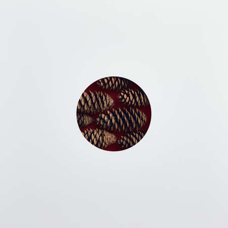 Christmas minimal concept - abstract christmas bauble made of pinecone. Minimalist trendy mock up. Flat lay