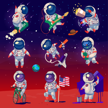 Set of cute astronauts in space, working and having fun.