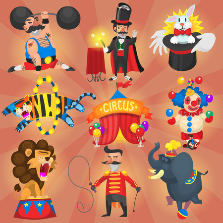 Set of circus and carnival artists and performers at stage.  Vector