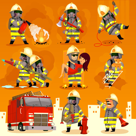 protective workwear: Set of cartoon fireman doing their job and saving people.