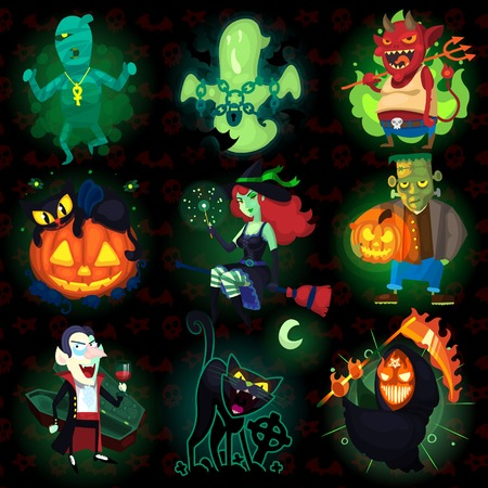 Set of scary Halloween characters with seamless pattern at background. Stock Illustratie