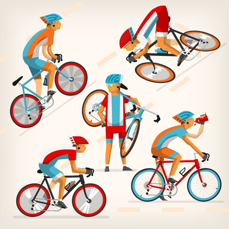 road cycling: Set of colorful bicycle riders training for competition at cycling track
