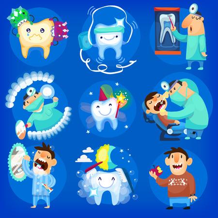 dientes caricatura: Conjunto de iconos dentales e ilustraciones con el hombre, el cuidado de los dientes en el dentista y en el hogar Vectores