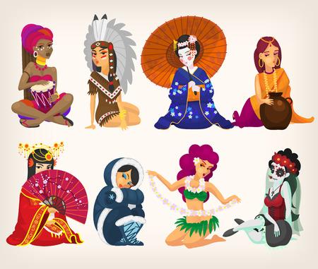 Conjunto de niñas de diferentes nacionalidades, que representan a sus países. Con patrones sin fisuras en el fondo. EPS 10