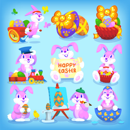 cartoon easter basket: Set of playful easter rabbits with seamless pattern as backgroung
