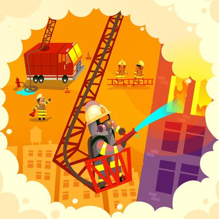 Vector illustratie met dappere brandweer team op het werk, het blussen van brand en het redden van levens