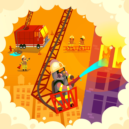 Vector illustration with brave firefighting team at work, extinguishing fire and saving lives