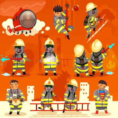 Set of cartoon fireman doing their job and saving people. EPS 10