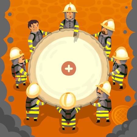 Set of cartoon fireman doing their job and saving people. EPS 10