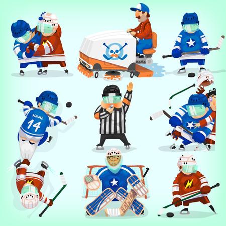 hockey sobre hielo: Conjunto de jugadores de hockey en diferentes situaciones.
