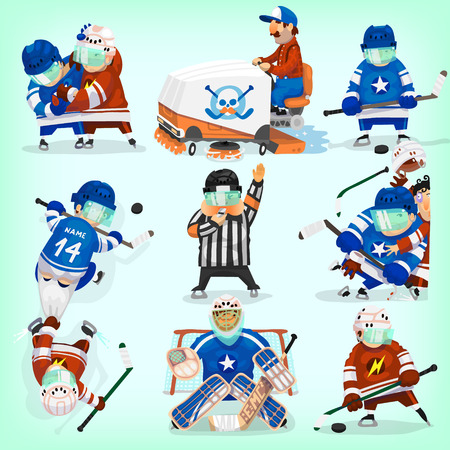 hockey equipment: Set of hockey players in different situations.