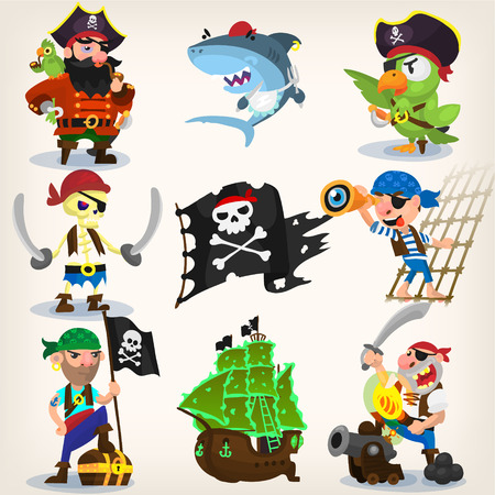 Set of fearless pirates at sea with seamless background. EPS 10 Çizim