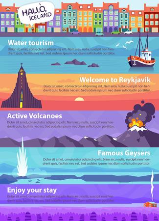 Kleurrijke vector reis banners met IJsland bezienswaardigheden en de prachtige natuur Stock Illustratie