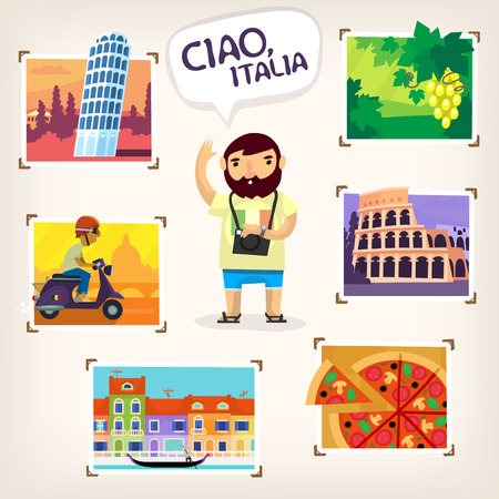 italy street: Tourist making pictures of famous Italian sights, beautiful nature and local cuisine