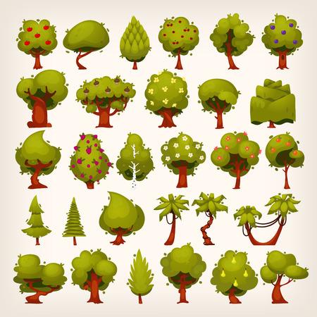 selva caricatura: Recogida de todo tipo de árboles para su diseño