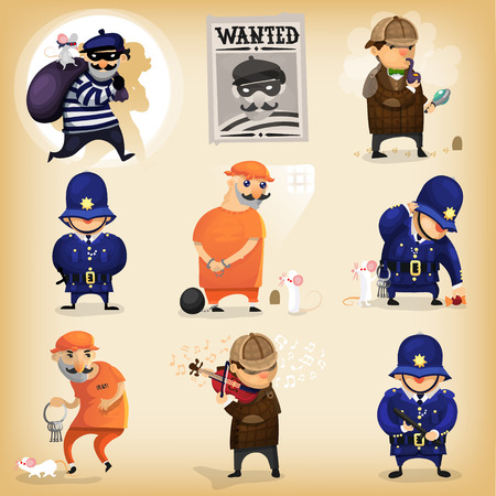 Illustrative story of a bank robber, who got caught by a famous british detective, got imprisoned, but managed to escape by tricking the police with help of his companion. Stock Illustratie