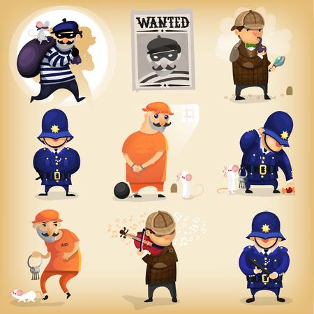 Illustrative Geschichte von einem Bankräuber, der von einem berühmten britischen Detektiv erwischt, wurde inhaftiert, konnte aber durch Tricks die Polizei mit Hilfe von seinem Begleiter entkommen. Standard-Bild - 43191439