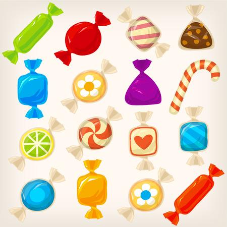 Set van zoete kleurrijke karamel harde snoepjes met verschillende vormen en patronen in transparante inpakpapier