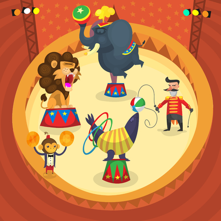 Circusartiesten. Mensen en dieren maken trucs in de fase