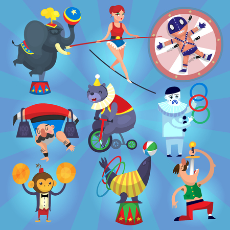 cartoon circus: Circus performers. Isolated people and animals making tricks