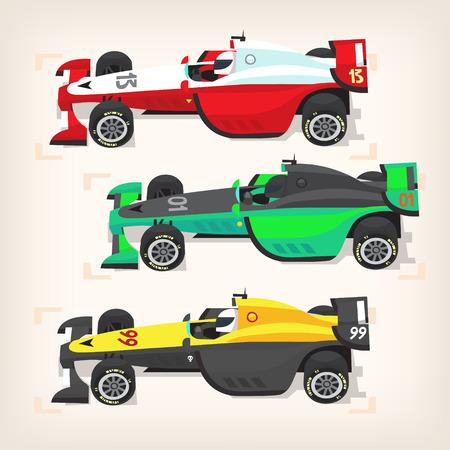 Set van kleurrijke snelle autosport auto's op een startlijn.
