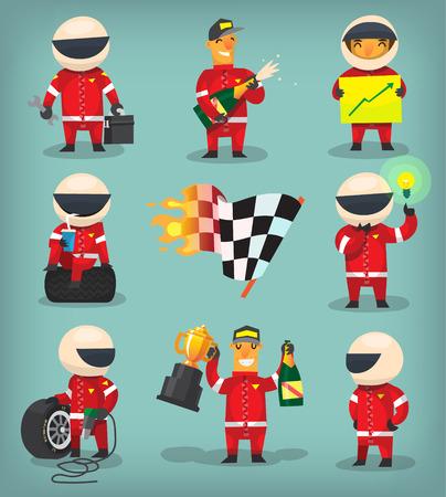 ingeniero: Conjunto de colorido participantes de carreras, campeones, ingenieros y trabajadores de parada en boxes