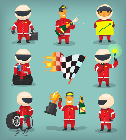 Set of colorful racing participants, champions, engineers and pit stop workers Stock Illustratie