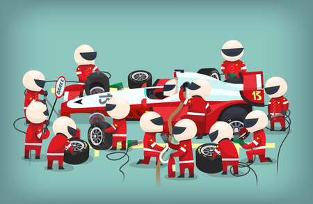 1: Colorful illustration with pit stop workers and engineers maintaning technical service for a racing car during a motor racing event.