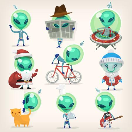 Kleurrijke kleine groene aliens met grote hoofden onder vermomming beheersen aarde tradities en doet het verkeerd. Geïsoleerde vector cartoons