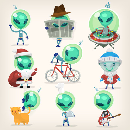 Colorful little green aliens with huge heads under disguise mastering earth traditions and doing it wrong. Isolated vector cartoons