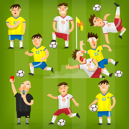 Set van kleurrijke voetballers op verschillende posities voetballen op een groen veld