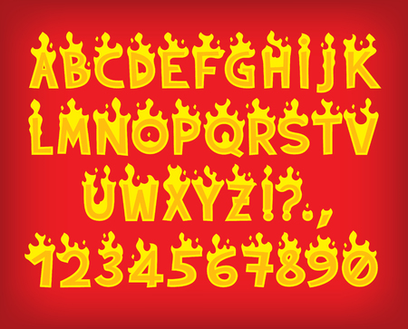 Hot cartoon vector fire flame font caps Иллюстрация