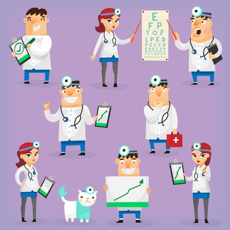 empleados trabajando: Los m�dicos y enfermeras personajes en uniforme del hospital tratan a los pacientes y Reserch din�mica positiva. Aislado vectorial