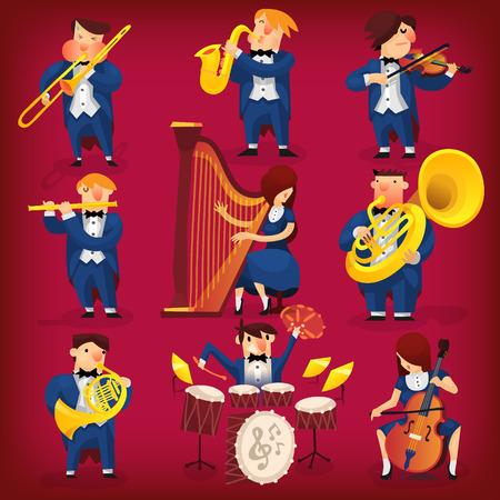 orquesta: Conjunto de músicos tocando en la orquesta sinfónica clásica sobre todo tipo de instrumentos