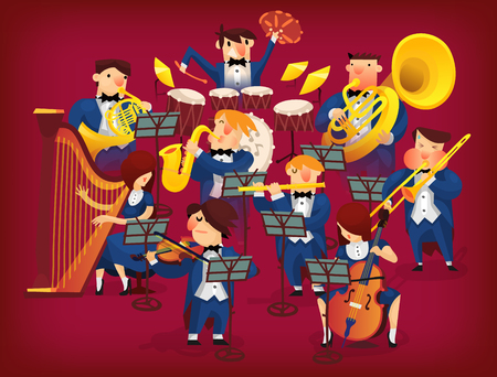People in musicians pit playing in classic symphonic orchestra on all kinds of instruments Illustration