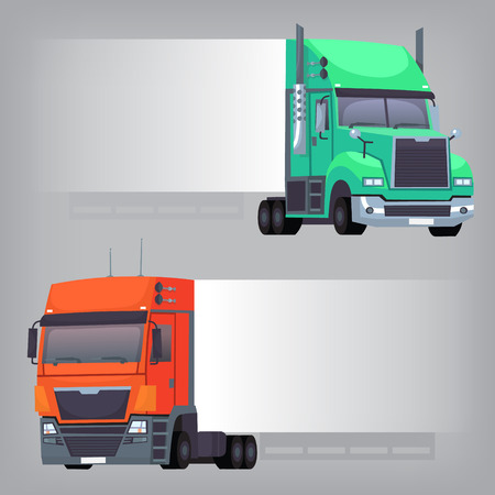 Trucks with non-dimensional side banner that can be used to create messages and place ads