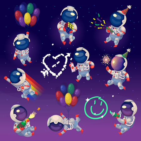 Set of cute party astronauts in space, having fun and celebrating.