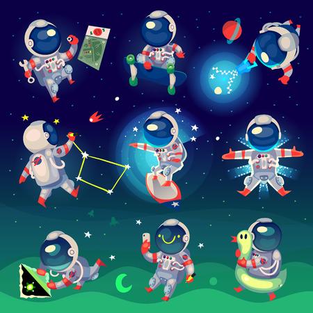 Set van schattige astronauten in de ruimte, werken en plezier.
