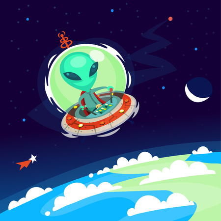 atmosphere: Colorful little green alien with big head flying his spaceship in Earth atmosphere. Vector cartoon alien on a space background.