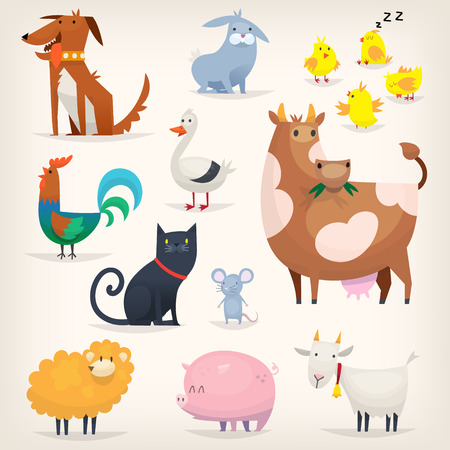 popular tale: Set of popular colorful vector farm animals and birds Illustration